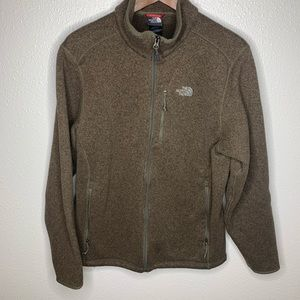 The north face men's large brown zip up euc